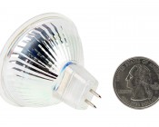 Color-Changing MR16 LED Bulb - 15 Watt Equivalent - Bi-Pin LED Spotlight Bulb: Back View with Size Comparison