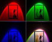 3 Watt Color Changing RGB LED MR16 Bulb: Red, Green, Blue, and White color modes shown shining on a poster