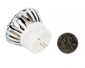 Color-Changing MR16 LED Bulb w/ Remote - 10 Watt Equivalent - RGB LED Spotlight Bulb - 80 Lumens: Back View With Quarter Comparison