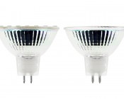 MR16 LED Bulb - 30 Watt Equivalent - Bi-Pin LED Flood Light Bulb: Profile View with Size Comparison to Incandescent Bulb (on right)