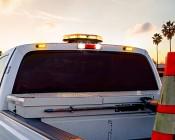 9 Watt Vehicle Mini Strobe Light Head: Installed on Work Truck