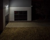 Small Square LED Wall Pack - 48W (250W MH Equivalent) - 4000K - 5,100 Lumens: Profile View Small Square Wall Pack Illuminated