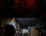NEBO 90 Lumen Headlamp - Hands-Free LED Flashlight: Shown On In Red And White Beams Illuminating Warehouse Aisle.
