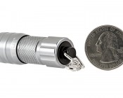 TU283S NEBO Compact MicroLite LED Keychain Flashlight: Back View With Size Comparison