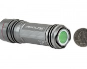 LED Flashlight - NEBO REDLINE LED Flashlight with Variable Focus Zoom Lens: Back View With Size Comparison, Button Glows In The Dark
