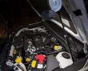 NEBO TWIN PUCKS LED Task Light and LED Safety Flare Combo: Shown Illuminating SUV's Engine.