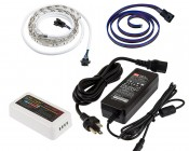 RGB Smart LED Strip Light Kit - 12V LED Tape Light w/ LC4 Connector - 244 Lumens/ft.: NFLS-RGB15X2-WHT-LC4-MZ