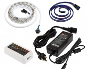 RGB Smart LED Strip Light Kit - 12V LED Tape Light w/ LC4 Connector - 244 Lumens/ft.: NFLS-RGB30X2-WHT-LC4-MZ