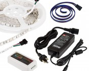RGB Smart LED Strip Light Kit - 12V LED Tape Light w/ LC4 Connector - 244 Lumens/ft.: NFLS-RGB150X2-WHT-LC4-MZ
