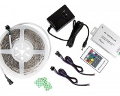 LED Light Strip Full Kit with Multi Color LEDs - LED Tape Light with 9 SMDs/ft., 3 Chip RGB SMD LED 5050: All Included Parts
