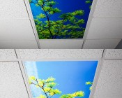 LED Skylight w/ Astronaut Skylens® - 2x4 - Dimmable - Drop Ceiling Recessed Mount: Turned Off and Turned On in Ceiling. 2 x 4 Version