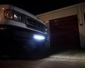 "20"" Off Road LED Light Bar Kit with Spot/Flood Combo Beam Installed In Bumper Of Work Van"