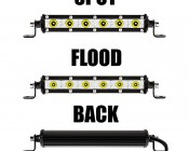 "7"" Slim Off Road LED Light Bars - 18W - 1,650 Lumens: Front & Back Views"