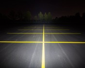 "15"" Heavy Duty Off Road LED Light - 90W: Showing Beam Pattern Aimed At Tree Line 200 Feet Away"