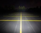 "17"" Heavy Duty Off Road LED Light - 108W: Showing Beam Pattern Aimed At Tree Line 200 Feet Away"