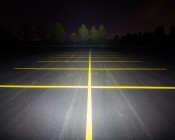 "20"" Heavy Duty Off Road LED Light Bar - 126W: Showing Beam Pattern Aimed At Tree Line 200 Feet Away"