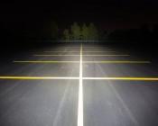 "36"" Heavy Duty Off Road LED Light Bar - 234W: Showing Beam Pattern Aimed At Tree Line 200 Feet Away"