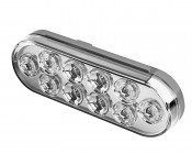 "Oval LED Truck Lights and Trailer Lights with Clear Lens - 6"" LED Brake/Turn/Tail Lights w/ 10 High Flux LEDs - 3-Pin Connector"