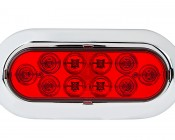 """Oval LED Truck Trailer Light with Built In Flange - 6"""" LED Stop Turn Tail Light with 10 LEDs: Front View"""