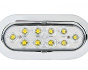 "Oval LED Truck Trailer Light with Built In Flange - 6"" LED Reverse Light with 10 LEDs: Front View"