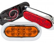 """Oval LED Truck Trailer Light with Built In Flange - 6"""" LED Stop Turn Tail Light with 10 LEDs: Available In Red, Amber, & White"""