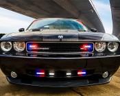 9 Watt Vehicle Mini Strobe Light Head: White Strobe Installed on Undercover Police Challenger Front Grill