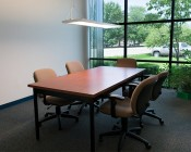 Dimmable 54W Up/Down LED Panel Light Fixture - Semitransparent - 1ft x 4ft: Shown Installed Over Conference Table.