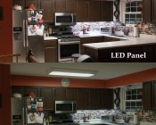 Dimmable 40W LED Panel Light Fixture - 2ft x 2ft: Shown Flush Mounted In Kitchen (Top) Compared To Fluorescent Tube Fixture (Bottom). Note Larger Size Panel Is Shown.