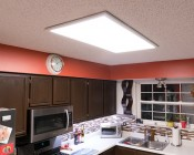 Dimmable 40W LED Panel Light Fixture - 2ft x 4ft: Shown Installed Via Flush Mount In Kitchen.