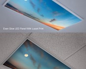 Skylens™ Fluorescent Light Diffuser - Sun Beams Decorative Light Cover - 2' x 2': Showing Even Glow LED Panel (Top) With Luxart Print Compared To Skylens Print Installed In Standard Fluorescent Fixture.
