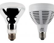 PAR30 LED Bulb, 40W: Profile View with Size Comparison to Incandescent Bulb