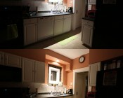 PAR30 LED Bulb - 12 Watt - Dimmable LED Spotlight Bulb: Shown In Recessed Kitchen Light And On In Natural White (Top) And Warm White (Bottom).