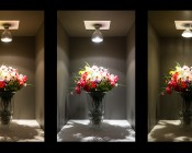 PAR30 LED Bulb, 30W: On Showing Comparison Of Warm White (Left), Natural White (Center),  And 75 Watt Incandescent PAR30 (Right).