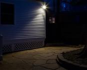 PAR30 LED Bulb, Weatherproof: Picture Showing LED Spotlight On In Backyard.