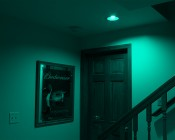 Smartphone or Tablet WiFi Compatible RGB+White PAR30 LED Bulb, 9W: Shown Illuminating Basement Stairs In Red, Green, Blue, Cyan, Magenta, Amber, And Warm White.
