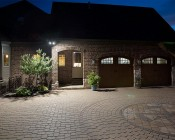 PAR38 Outdoor LED Bulb - 150 Watt Equivalent Weatherproof LED Flood Light Bulb - 1,500 Lumens: Installed on Luxury Home above Garage Door