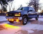 """Mini Round LED Truck Trailer Light - 1"""" LED Marker Clearance Light with 1 LED: Installed On Truck Bumper"""