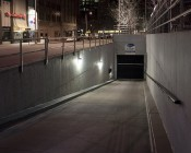 Photocontrol Mini LED Wall Pack - 30W (175W MH Equivalent) - 5500K/4000K - 2,400 Lumens: Shown Lighting Parking Garage Entrance in Cool White