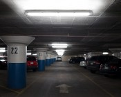 T8 LED Vapor Proof Light Fixture for 2 LED T8 Tubes - Industrial LED Light - 4' Long: Shown Installed In Parking Garage With Natural White T8 Tubes.