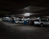 T8 LED Vapor Proof Light Fixture for 2 LED T8 Tubes - Industrial LED Light - 4' Long: Shown In Parking Garage.