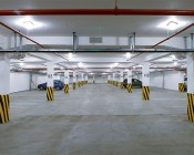 LED Canopy Light and Parking Garage Light - 100W High Power LED - Natural White: Shown In Parking Garage.