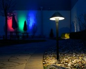 Landscape LED Path Lights w/ Hammered Shade - 3 Watt - Adjustable Height: Shown Installed In Garden.