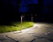 Landscape LED Path Lights w/ Offset Cone Shade - 3 Watt: Shown Illuminating Patio Area.