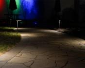 Landscape LED Path Lights w/ Offset Cone Shade - 3 Watt: Shown Installed Along Walking Path.