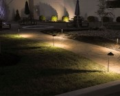 Landscape LED Path Lights w/ Offset Cone Shade - 3 Watt: Shown Installed Along Footpath.