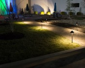 Landscape LED Path Lights w/ Hammered Shade - 3 Watt - Adjustable Height: Shown Installed Along Footpath.