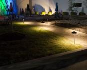 Landscape LED Path Lights w/ Mushroom Shade - 3 Watt - Adjustable Height: Shown Installed Along Footpath.