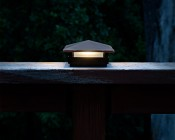 4x4 LED Deck and Fence Post Cap with 6x6 Post Adapter - 7 Watt Equivalent - Warm White - 75 Lumens - Installed on Balcony