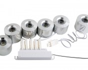1 Watt LED Surface Mount Puck Light Kit - 6 Piece: Assembled To Power Supply- All 6 LED Downlights Must Be Powered To Operate Correctly