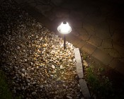 Landscape LED Path Lights w/ Frosted Glass Shade - 3 Watt - Adjustable Height: Showing Beam Pattern.